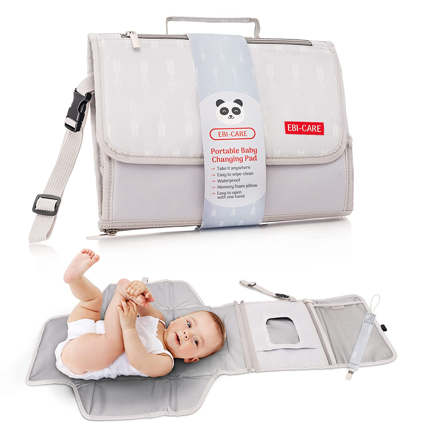 Portable Diaper Changing Pad, Easy to Carry Baby Changing Pad for Moms and Dads, Waterproof Travel Changing Mat Fully Padded for Higher Comfort, Portable Changing Pad, Great Baby Gift by Ebi Care