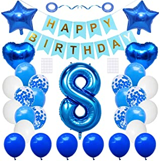 Huture 8 Birthday Party Supplies Blue Number 8 Foil Balloon Happy Birthday Banner Kit 8th Birthday Decoration White Blue L...