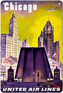 Pacifica Island Art Chicago, USA - The Tribune Tower, Wrigley Building, and Michigan Avenue Bridge - United Air Lines - Vi...