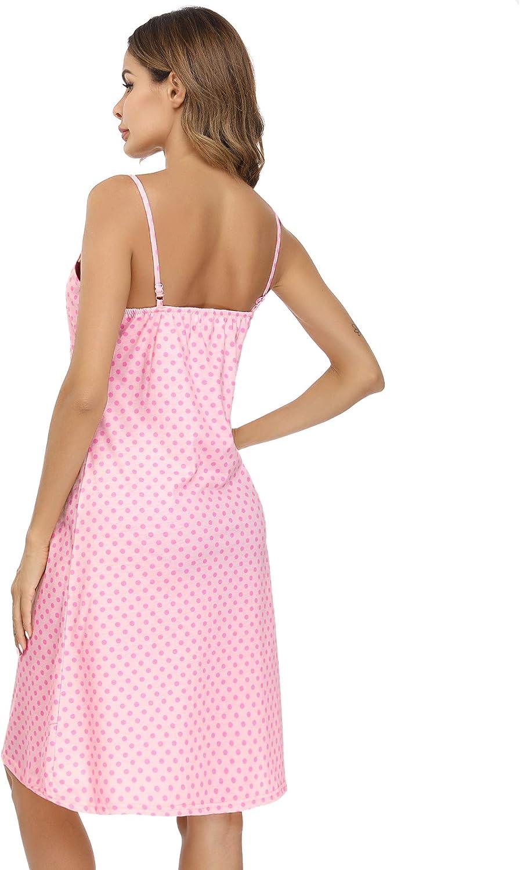 Aibrou Women Nightdress Cotton Wave Dot V Neck Babydoll Lingerie Spaghetti Strap Short Nightwear Sleepwear Chemise Dress Negligees