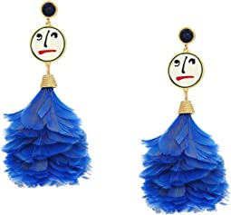 Conversational Feather Drop Earrings