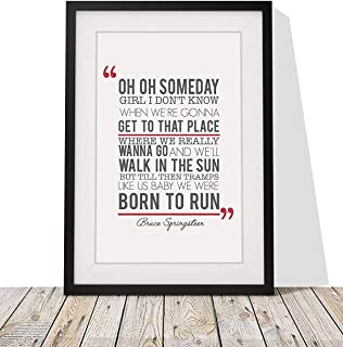 Bruce Springsteen 'Born to Run' Song Lyrics Framed Print with Mount | 12x10 Inch Wall Art Décor | Gift Idea for Birthdays Christmas or Any Occasion | Black