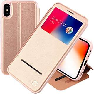 Nouske iPhone X / iPhone 10 5.8 Inch Smart Sensor Touch View Window Flip Case Cover, Embedded Magnetic Closure Secure Lock and Stand Feature, TPU bumper shell cradle,360 protection, Rose Gold