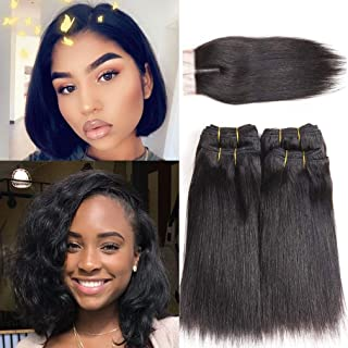 Brazilian Hair Bundles with Closure Straight Virgin Human Hair Weave Sew in Hair Weave with Closure 230g(8 8 8 8 with 8)