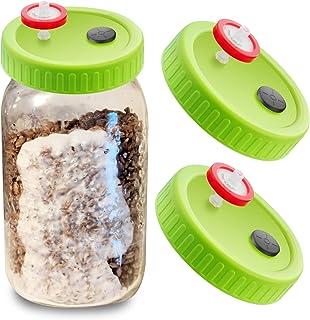 3Pcs Wide Mouth Liquid Culture Lid Food Grade Plastic Grain Spawn Cultivation Mason Jar Lid with PTFE Syringe Filter Butyl...