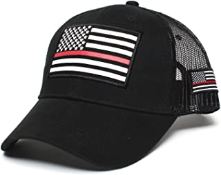 9840c3e1e72e7 Thin RED Line USA flag Posse Comitatus Unisex Adult One-Size Cap Hat Black