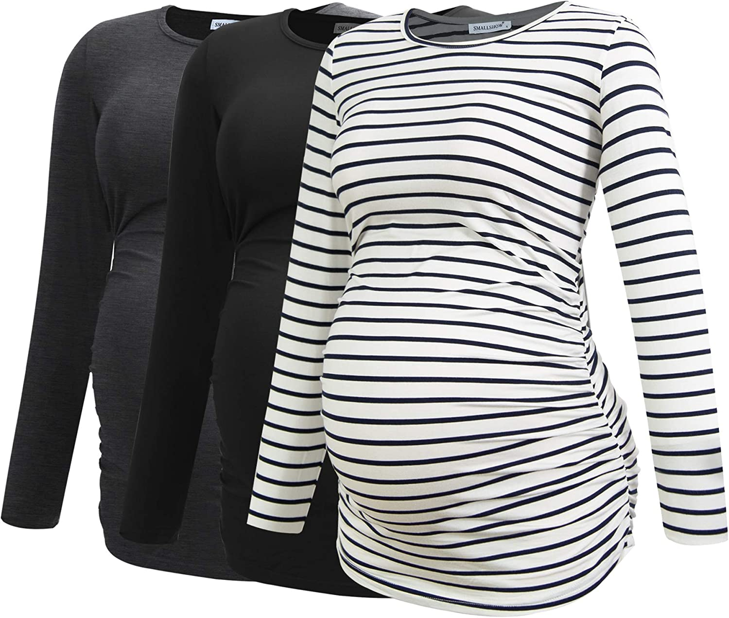Smallshow Women's Maternity Max 35% OFF 69% OFF Shirts Pregnancy Long Sleeve Clothes