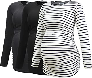 Smallshow Women's Maternity Shirts Long Sleeve Pregnancy Clothes Tops 3-Pack
