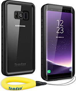 Temdan Samsung Galaxy S8 Waterproof Case Supported Wireless Charging Full-Body Protection Built in Screen Protector with Floating Strap Waterproof Case for Galaxy S8 (Black)