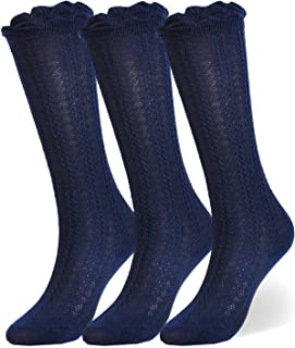Baby Girls Boys Cotton Uniform Knee High Socks Tube Ruffled Stockings (Pack of 3/5)