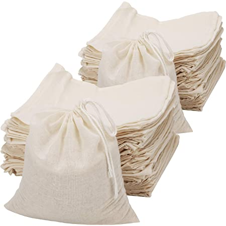 Premium Quality Storage Bags 100 pcs of 6x10 Inches Organic Cotton Reusable Double Drawstring Muslin Bags Best for Packaging.