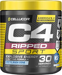 C4 Ripped Sport Pre Workout Powder Artic Snow Cone, Nsf Certified for Sport + Sugar Free Preworkout Energy Supplement for Men & Women, 135mg Caffeine + Weight Loss, 30 Servings, 8.7 Oz