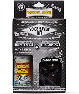 Vocal Eze Voice Saver Kit, Includes Vocal Herbal Throat Spray (1) and (12) Manuka Honey Drops   Relieve Sore, Hoarse, Fati...