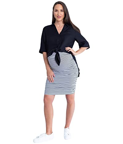 Angel Maternity Maternity Linen Shirt and Skirt (Black/White Stripe) Women