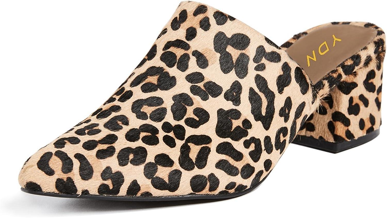YDN Women Pointed Toe Low Heels Mules Slip on Block Sandals Casual Slide shoes
