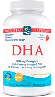 Nordic Naturals DHA, Strawberry - 180 Soft Gels - 830 mg Omega-3 - High-Intensity DHA Formula for Brain & Nervous System S...