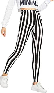 Women's Striped Print Capris Pants Elastic Waist Stretchy Yoga Leggings