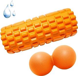 フォームローラー Lintelek 筋膜リリース グリッドフォームローラー マッサージボールつき ヨガボール トレーニング スポーツ フィットネス ストレッチ器具 ダイエット 収納バッグ