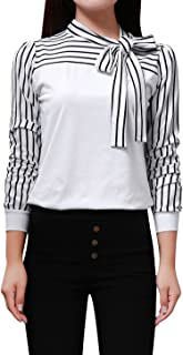Women's Long Sleeve Tie-Bow Neck Striped Shirt Tops