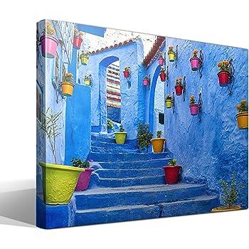 cuadro canvas Calle de Marruecos - 95cm x 70cm - Fabricado en España: Amazon.es: Hogar