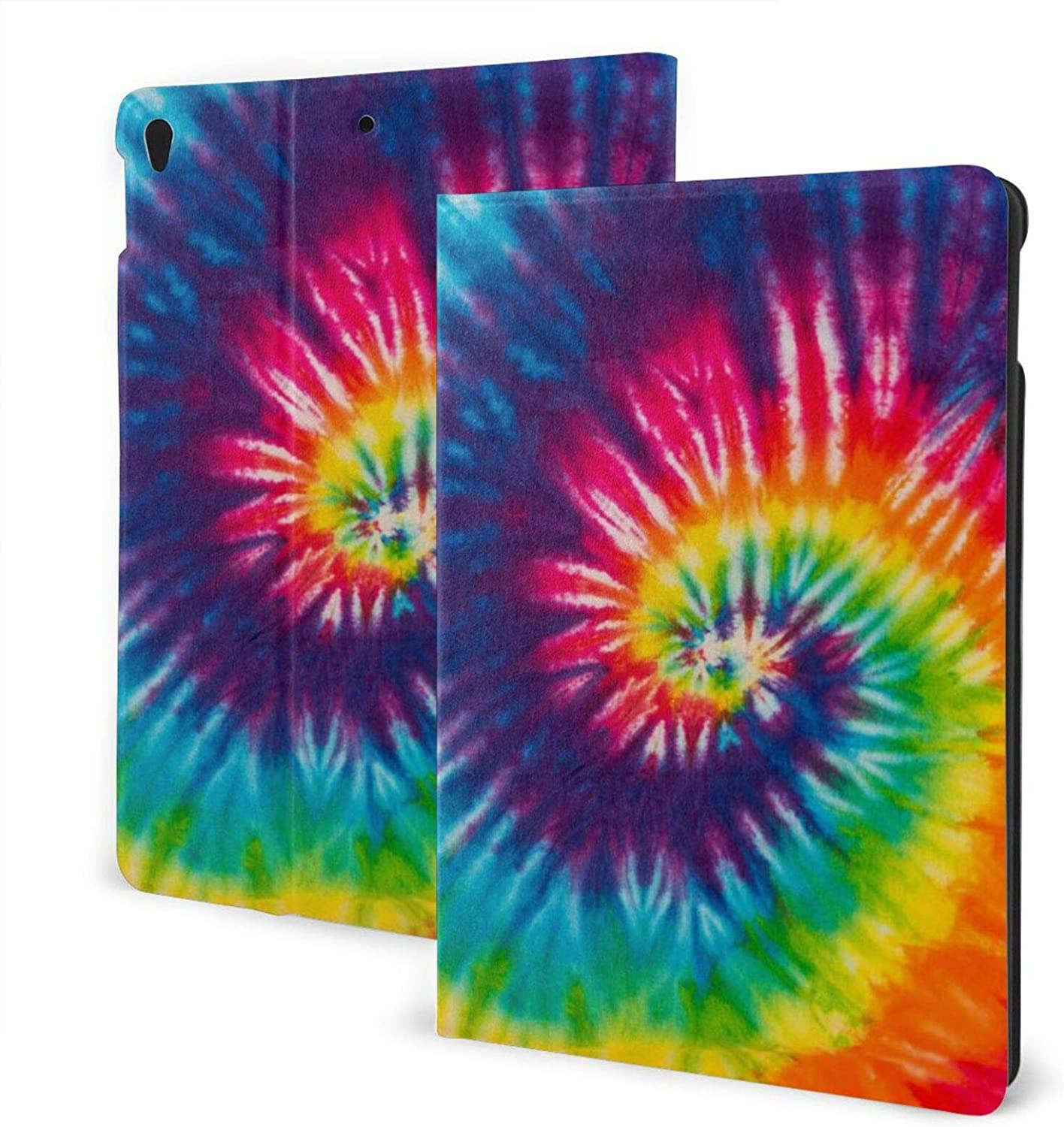 Rainbow Tie Dye IPad Case, Soft Rubber Back Cover Protective Leather Case Adjustable Stand Auto Wake/Sleep Smart Case for IPad 7th 10.2