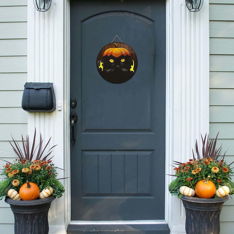 Halloween Wooden Welcome Sign Front Rustic service Round Decor Great interest Door