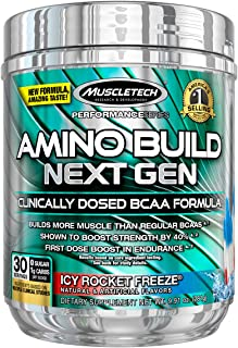 BCAA Amino Acids and Electrolyte Powder, MuscleTech Amino Build, 7g of BCAAs and Electrolytes, Support Muscle Recovery, Bu...