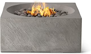 Pyromania Bonita Outdoor Fire Pit Table. Hand Crafted from Concrete. 60,000 BTU Stainless Steel Burner with Electronic Ignition - Natural Gas Model, Slate Color (Lava Rock Included)