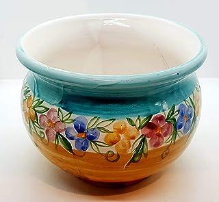 Cachepot Linea Fiori di Nina diametro 22 x 21 Handmade Le Ceramiche del Castello Made in Italy