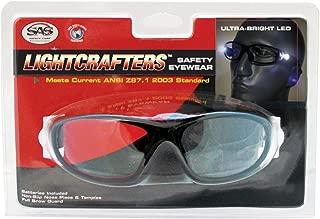 SAS Safety 5420-30 LED Inspectors Readers Safety Glasses, Black Frame, 3.0 Magnification Lens
