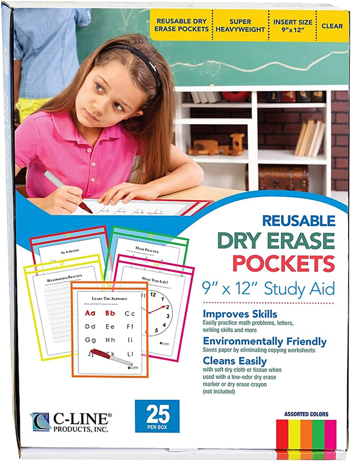 Kansas City Mall C-Line Lowest price challenge Reusable Dry Erase Pockets 9 x Assorted Inches Neon 12