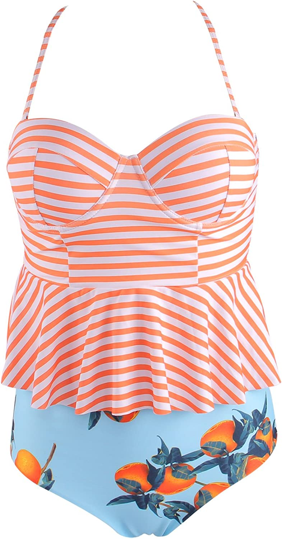 colorful World High Waist Swimsuit Bikini Sets,Bathing Suits Tankini Striped Bikini for Women