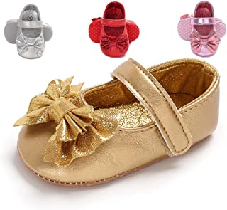 Infant Baby Girls Mary Jane Shoes Non Skid Soft Sole Newborn Toddler First Walker Crib Princess Dress Shoes