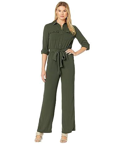 MICHAEL Michael Kors Roll Sleeve Safari Jumpsuit (Ivy) Women