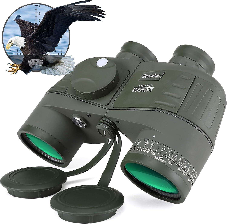 Prismáticos Militares Marinos 10x50 Impermeable Resistente a la Niebla, Lente BAK4 Prism FMC, con brújula telémetro para Distancia, Adecuado para navegación, navegación, Caza y observación de Aves