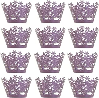 24Pcs Cupcake Wrappers Christmas Party Hollow Snowflake Laser Cut Paper Liners for Wedding Party Birthday Decoration(Purple)