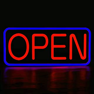 MaxLit 21'' X 10'' New Ultra Bright LED Neon Sign - Open - Remote Controlled (Blue/Red)