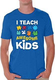 Awkward Styles Men's Autism Awareness Puzzle Graphic T Shirt Tops I Teach Awesome Kids
