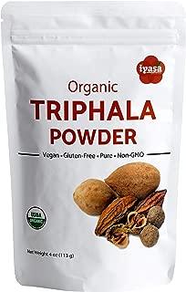 USDA Organic Triphala Powder, Pack of 4 Oz/112 Gm, Ayurveda Superfood, Natural Body Detox and Bowel Cleanser, Herbal Laxative, Rejuvenating Formula, Resealable Pouch Always Fresh, 4 OZ
