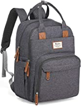 Diaper Bag Backpack, RUVALINO Multifunction Travel Back Pack Maternity Baby Changing Bags, Large Capacity, Waterproof and Stylish, Dark Gray