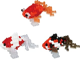 3 Nanoblock Fish Sets - 2 Wakin Goldfish (Red and Black) and 1 Popeyed Goldfish (Japan Import)
