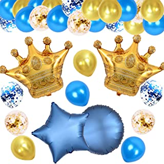 JOYMEMO Royal Party Decorations Gold and Blue with Crown Balloons Set for Baby Shower, Birthday Party, Wedding and Engagement