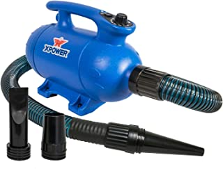 XPOWER B-24 Thermal Ace 3 HP Dog Grooming Force Pet Dryer with 2 Heat Settings- Used in Grooming Salons, Mobile Pet, Professional Competition- Blue