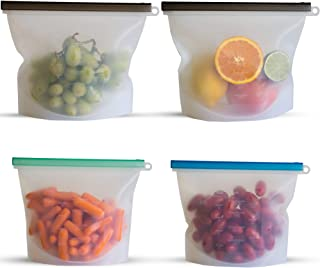 Reusable Silicone Food Storage Bags | Sous Vide Cooking | Meal Prep, Baby Food, Snack | BEST Non Toxic, BPA Free, Eco Friendly, Lunch Containers | Dishwasher Microwave Safe | 4-2 large & 2 small