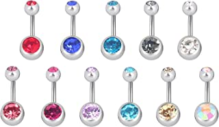 Navel Rings Belly Button Bar Double Gems Surgical Steel 14Gauges,1/4 inch 6mm Short Bar Length (Pack of 10pcs)