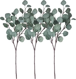ZHIIHA Artificial Eucalyptus Garland Long Silver Dollar Leaves Foliage Plants Greenery Fake Plastic Branches Greens Bushes