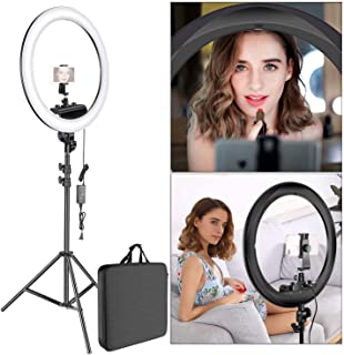 House of Quirk Ring Light Kit [Upgraded Version-1.8cm Ultra Slim]-12 inches,3200-5600K,Dimmable LED Ring Light with Light Stand,Hot Shoe Adapter for Portrait Makeup Video Shooting ((Black))