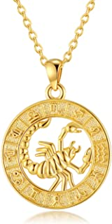 VLINRAS Zodiac Sign Necklaces 18K Real Gold Plated Coin Horoscope Necklaces for Women Birthday Gifts Constellation Astrolo...