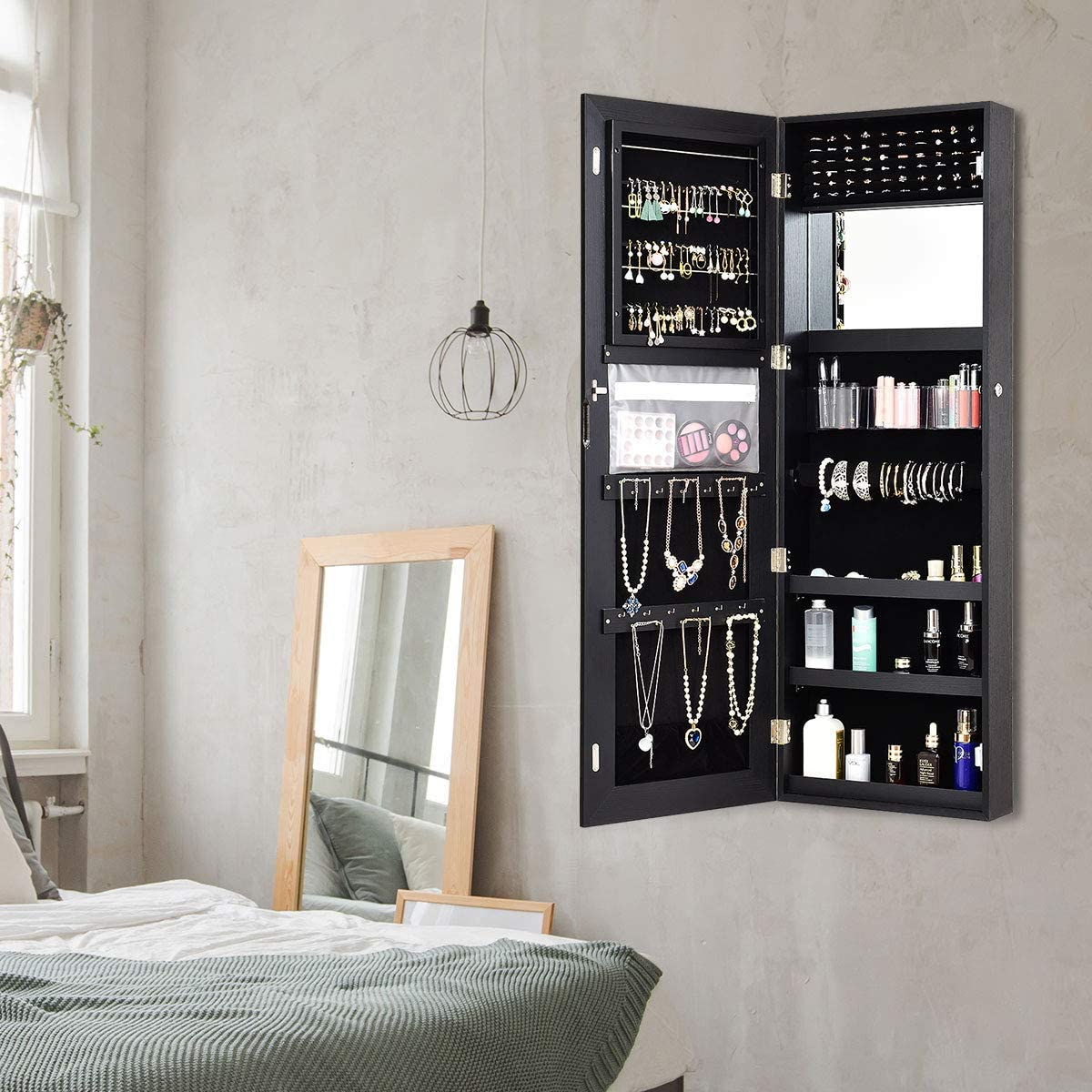 Large Storage Black Lockable Jewelry Organizer Armoire 47.5 Wall//Door Mounted Jewelry Armoire with Full Length Mirror CHARMAID Jewelry Cabinet with LED Touch Screen Mirror