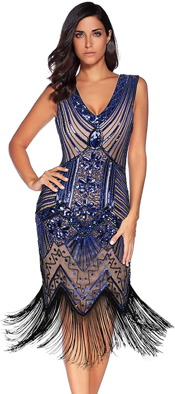 meilun 1920s Sequined Vintage Ranking SEAL limited product TOP2 Dress Flapper Beaded Gatsby Evenin